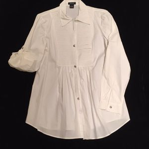 White cotton blouse long or short sleeves